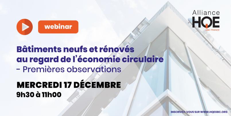 Alliance HQE > Bâtiments neufs et rénovés au regard de l'Economie Circulaire – Premières observations